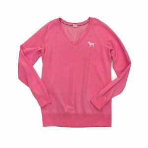 PINK VICTORIAS SECRET Women's V-Neck Sweater Lg